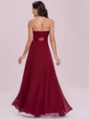 Simple Off Shoulder Wholesale Maxi Bridesmaid Dress-Burgundy 2