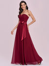 Simple Off Shoulder Wholesale Maxi Bridesmaid Dress-Burgundy 3