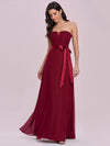 Simple Off Shoulder Wholesale Maxi Bridesmaid Dress-Burgundy 4