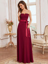 Simple Off Shoulder Wholesale Maxi Bridesmaid Dress-Burgundy 8