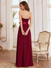 Simple Off Shoulder Wholesale Maxi Bridesmaid Dress-Burgundy 9