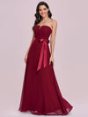Simple Off Shoulder Wholesale Maxi Bridesmaid Dress-Burgundy 1