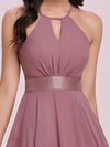 Modest Halter Wholesale High Waist Chiffon Bridesmaid Dress-Purple Orchid 5