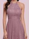 Sassy High Waist Halter Lace & Tulle Wholesale Bridesmaid Dress-Purple Orchid 5