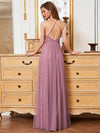 Sassy High Waist Halter Lace & Tulle Wholesale Bridesmaid Dress-Purple Orchid 4