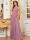 Sassy High Waist Halter Lace & Tulle Wholesale Bridesmaid Dress-Purple Orchid 2