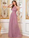 Sassy High Waist Halter Lace & Tulle Wholesale Bridesmaid Dress-Purple Orchid 3