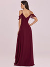 Cold Shoulder V Neck Asymmetrical Hem Long Chiffon Bridesmaid Dress-Burgundy 2