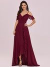 Cold Shoulder V Neck Asymmetrical Hem Long Chiffon Bridesmaid Dress-Burgundy 3