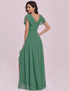 Sweet Wholesale Long V Neck Chiffon Bridesmaid Dress-Green Bean 2