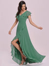 Sweet Wholesale Long V Neck Chiffon Bridesmaid Dress-Green Bean 3