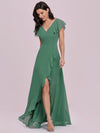 Sweet Wholesale Long V Neck Chiffon Bridesmaid Dress-Green Bean 4