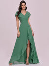 Sweet Wholesale Long V Neck Chiffon Bridesmaid Dress-Green Bean 1
