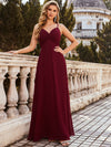 Simple Ruched Bust High Waist Wholesale Evening Dress-Burgundy 3