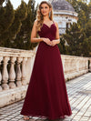 Simple Ruched Bust High Waist Wholesale Evening Dress-Burgundy 4
