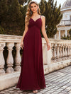 Simple Ruched Bust High Waist Wholesale Evening Dress-Burgundy 1