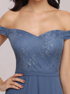 Off The Shoulder Lace Bodice Short Sweetheart Evening Dress-Dusty Navy 5