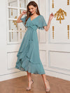 Modest Wholesale Tea Length V Neck Chiffon Bridesmaid Dress-Dusty Blue 9