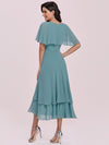 Modest Wholesale Tea Length V Neck Chiffon Bridesmaid Dress-Dusty Blue 3