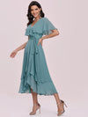 Modest Wholesale Tea Length V Neck Chiffon Bridesmaid Dress-Dusty Blue 4