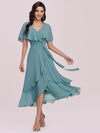 Modest Wholesale Tea Length V Neck Chiffon Bridesmaid Dress-Dusty Blue 1