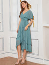 Modest Wholesale Tea Length V Neck Chiffon Bridesmaid Dress-Dusty Blue 8