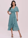 Modest Wholesale Tea Length V Neck Chiffon Bridesmaid Dress-Dusty Blue 2