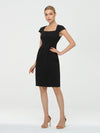 Women'S Stylish Square Neckline Sheath Wholesale Work Dress-Black 3