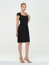 Women'S Stylish Square Neckline Sheath Wholesale Work Dress-Black 4