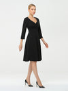 Solid Color A-Line Wholesale Work Dress With Sweetheart Neckline-Black 1