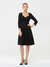 Solid Color A-Line Wholesale Work Dress With Sweetheart Neckline-Black 2