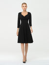 Solid Color A-Line Wholesale Work Dress With Sweetheart Neckline-Black 3