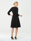 Solid Color A-Line Wholesale Work Dress With Sweetheart Neckline-Black 4
