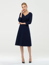 Long Sleeves V Neck A Line Midi Workwear Dress-Navy Blue 4