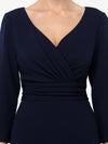 Long Sleeves V Neck A Line Midi Workwear Dress-Navy Blue 5