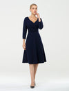 Long Sleeves V Neck A Line Midi Workwear Dress-Navy Blue 1