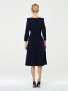 Long Sleeves V Neck A Line Midi Workwear Dress-Navy Blue 2