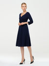 Long Sleeves V Neck A Line Midi Workwear Dress-Navy Blue 3