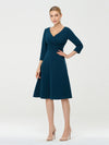 Long Sleeves V Neck A Line Midi Workwear Dress-Teal 4
