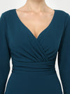 Long Sleeves V Neck A Line Midi Workwear Dress-Teal 5