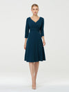 Long Sleeves V Neck A Line Midi Workwear Dress-Teal 1