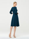 Long Sleeves V Neck A Line Midi Workwear Dress-Teal 2