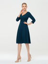 Long Sleeves V Neck A Line Midi Workwear Dress-Teal 3
