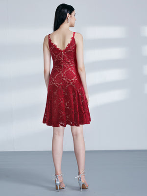 Ever-Pretty Women Elegant A Line V Neck Lace Cocktail Dress Knee Length EZ03039