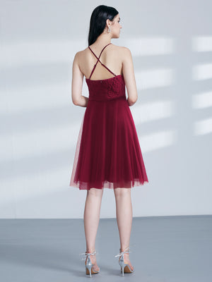 Ever-Pretty Elegant A-Line Halter Short Lace Bridesmaid Dress EZ03042