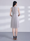 Illusion Round Neck A Line Short Bridesmaid Dress With Lace Bodice Ez03046-Grey 2
