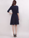 V Neck Half Sleeves Short Women Casual Winter Dresses Ez03047-Navy Blue 2