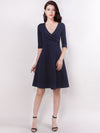 V Neck Half Sleeves Short Women Casual Winter Dresses Ez03047-Navy Blue 1
