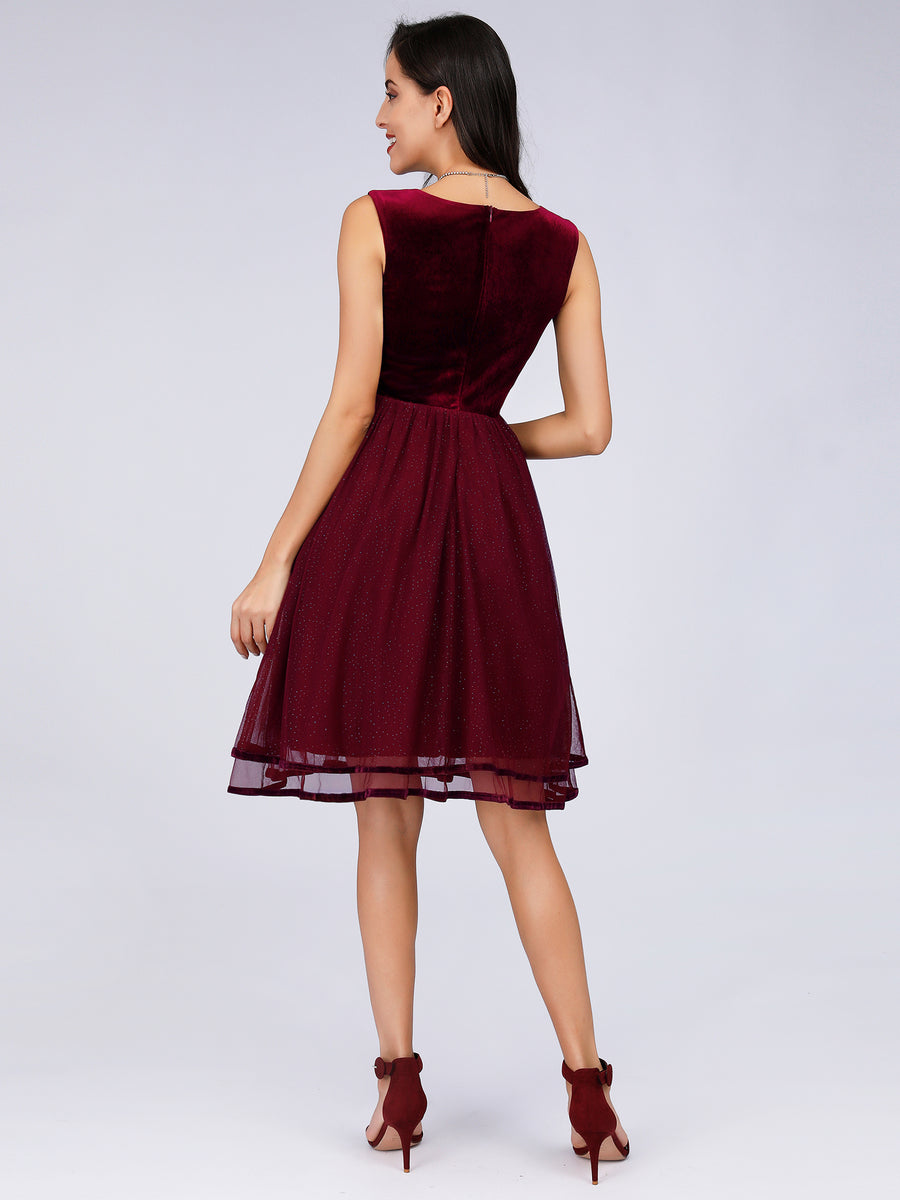 Ever-Pretty Keen Length Velvet Cocktail Party Dresses for Women EZ03074