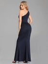 Women Fashion One-Shoulder Mermaid Long Formal Evening Dress With Side Split Ez07489-Navy Blue 3